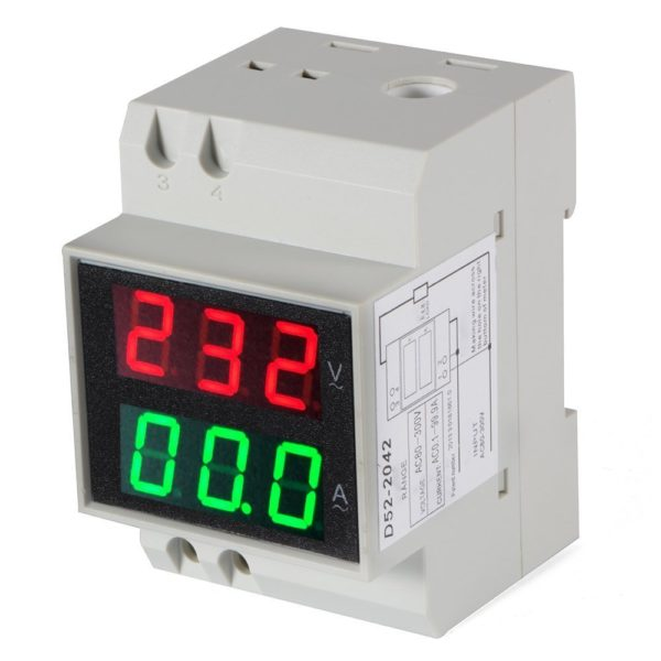 14717007 600x600 - Digital Din-Rail AC Ammeter Voltmeter Dual LED Display -Voltage measurement range: 80~300V; Current: 0.1~99.9A; Display screen: 0.55 LED 6-digit; Accuracy: 1%; Power consumption: <0.2VA; Din rail mounting; Speed: 2/s; Voltage red display, current blue display; Easy installation and operation; Direct digit display; High accuracy, wide reading range. - volt-meters, amp-volt-meters, ammeters - 14717007 600x600