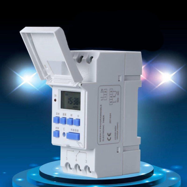 4 1 600x600 - DIN Rail Time Relay Switch Digital LCD Programmable Timer -Programmable timer for use in AC switching applications. Onboard battery maintains time and settings. DIN rail mountable. - timers-and-controls - 4 1 600x600