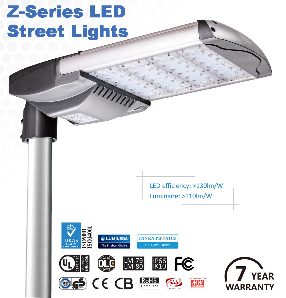 01 - Z-Series 110 lm/watt Street Lights -Z Series LED parking lot lighting provides cost effective illumination with industry leading LED modules and world class drivers. With a robust 7 year warranty, they boast a 70,000 hour lifespan. - led-street-lights, commerial-lighting - 01
