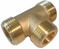 BSP TEE M - Brass Male BSP Tee Pipe Fitting -Brass Male BSPP Tee BSP Pipe Fittings Adapter For Air/Fuel/Water/Glycol - sdhw-con - BSP TEE M