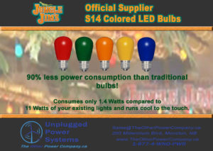JJ Lights2018 300x213 - S14 Style LED Colored Bulbs -LED S14 lamps for direct replacement of 11W incandescent versions, saving 90% in running costs. Frosted Bulb: Yes. LED Opaque glass bulb 1.4W / E26 base. Six colors available opaque glass bulbs. - household-led, commerial-lighting - JJ Lights2018 300x213