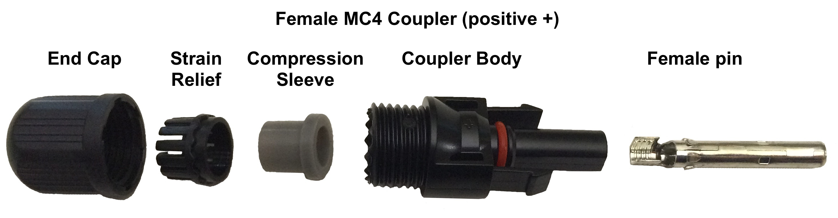 MC4 Female Connector - MC4 Crimp Connectors - Bulk Female - Pack of 20 -Bulk MC4 Crimp Connectors - 20 FEMALE connectors per bag - con-ele, connectors - MC4 Female Connector