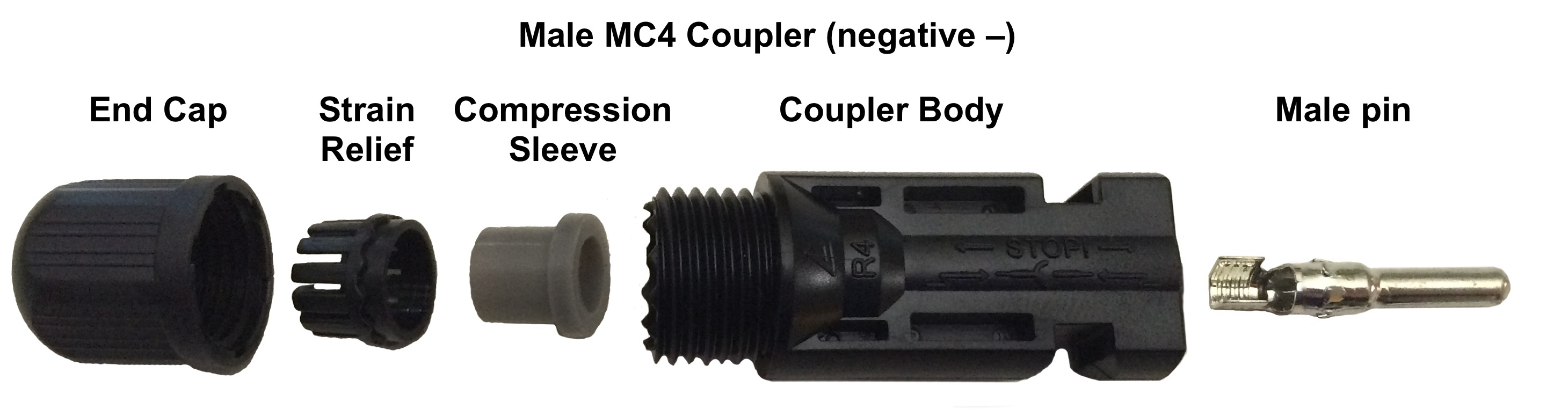 MC4 Male Connector - MC4 Crimp Connectors - Bulk Male - Pack of 20 -Bulk MC4 Crimp Connectors - 20 MALE connectors per bag - con-ele, connectors - MC4 Male Connector