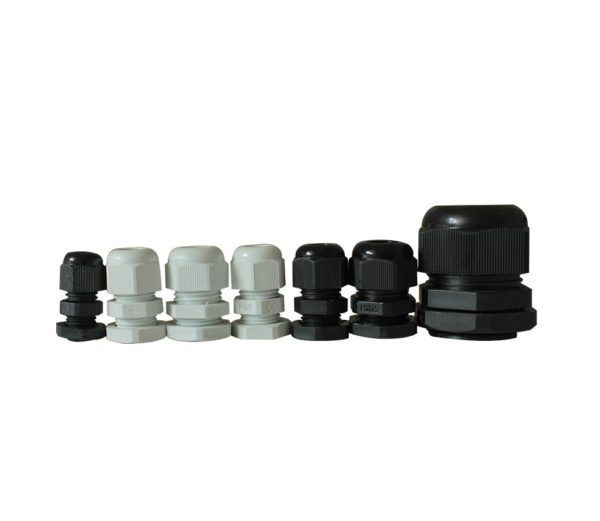 gland group 1 600x521 - Thread Plastic Waterproof Cable Gland Joints -Description: <ul> <li>Used for fixing cables, waterproof IP68.</li> <li>Special design of the clamping die and rubber, wide clamping range,strong stretching resistance, no damage to cables and devices.</li> <li>Without disassembly, cable can be inserted through directly then tighten easily and save time.</li> <li>Applicable to machinery control boxes ,distribution panels, electrical appliances, machines, etc.</li> </ul> - con-ele - gland group 1 600x521