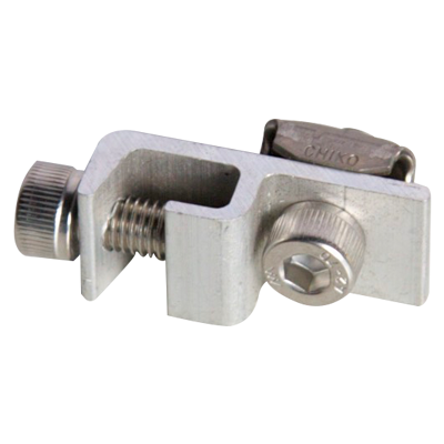 Grounding Lug - Grounding Clamp for Solar Mounting Rail -Device to connect ground cable to solar mounting rail system.  Anodized aluminum splice with stainless steel bolt. - solar-mounting-equipment - Grounding Lug