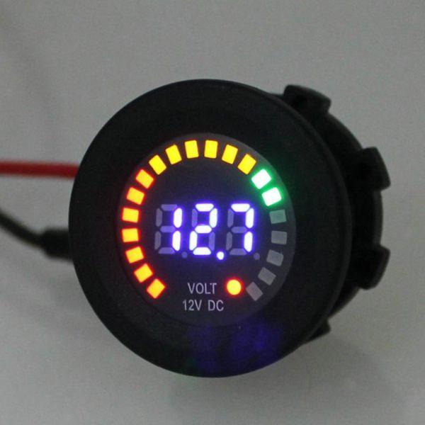 g 1 600x600 - Mini Round Blue LED Voltmeter - Gas Gauge Style -12 Volt DC Volt Meter  For automotive, marine, or off-grid use. - volt-meters - g 1 600x600