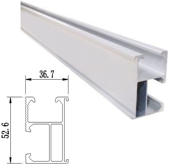 rail1 - R04 4400mm (14.4') Solar Mounting Rail -Single length of solar mounting rail. Usually good for 3 solar modules before requiring an extension.  Anodized aluminum splice with stainless steel bolt. - solar-mounting-equipment - rail1