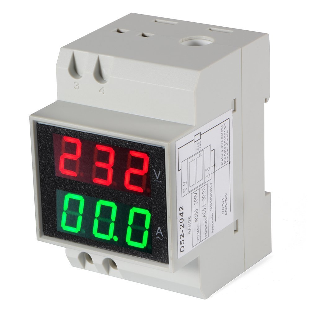 14717007 Digital Din-Rail AC Ammeter Voltmeter Dual LED Display