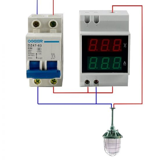 14717008 900 550 - Digital Din-Rail AC Ammeter Voltmeter Dual LED Display -Voltage measurement range: 80~300V; Current: 0.1~99.9A; Display screen: 0.55 LED 6-digit; Accuracy: 1%; Power consumption: <0.2VA; Din rail mounting; Speed: 2/s; Voltage red display, current blue display; Easy installation and operation; Direct digit display; High accuracy, wide reading range. - volt-meters, amp-volt-meters, ammeters - 14717008 900 550