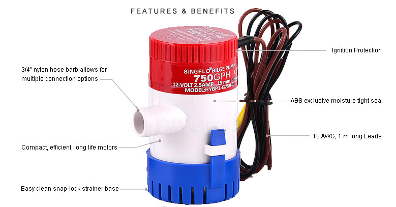 350 GPH 12V DC Submersible Marine Boat Bilge Sea Water Pump