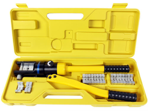 1 1 - 16 Ton Hydraulic Battery Wire Crimping Tool + 11  Cable Lug Dies -16 Ton Hydraulic Wire Crimper Crimping Tool 11 Dies Battery Cable Lug Terminal - tools, con-ele - 1 1