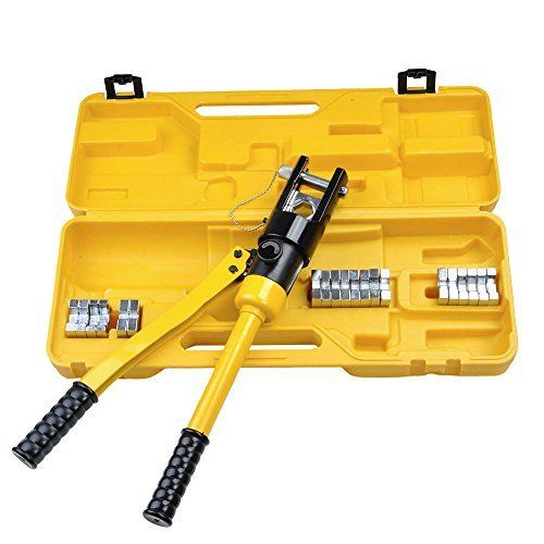 2 16 Ton Hydraulic Battery Wire Crimping Tool + 11  Cable Lug Dies