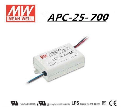 APC 25 700 - APC-25-700 -AC-DC Single output LED driver Constant Current (CC); Output 0.7A at 11-36Vdc - sign-led, led-parts - APC 25 700
