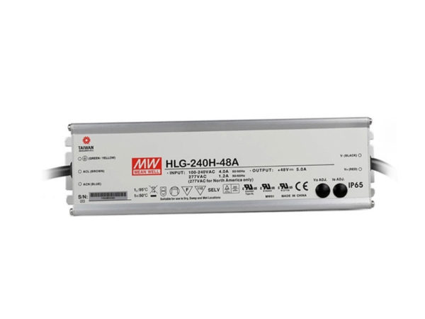 HLG 240H 48A 600x450 - HLG-240H-48A Meanwell Driver -AC-DC Single output LED driver Mix mode (CV+CC); Output 48Vdc at 5A; IP65; cable output - led-parts - HLG 240H 48A 600x450