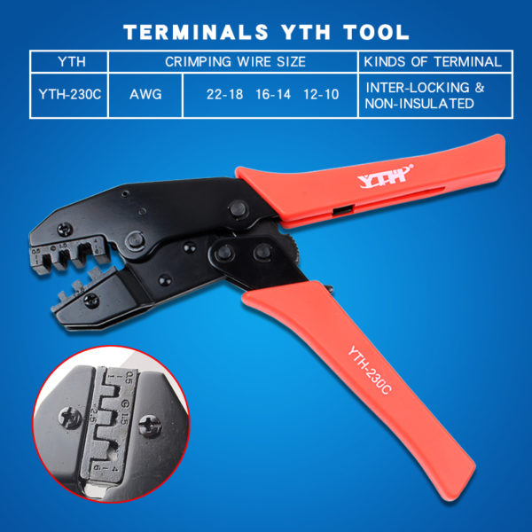 "HTB12o JlcnI8KJjSspeq6AwIpXaG 600x600 - YTH-230C hand crimping tool for crimping open barrel terminals -<span style=""color: #0000ff;""><strong><span style=""font-size: medium;"">YTH-230C Crimper Crimping Tool Inter-locking Non-Insulated Terminals YTH Tool 20-18 AWG</span>Crimping wire size:</strong></span> AWG: 20-18 16-14 12-10 - tools - HTB12o JlcnI8KJjSspeq6AwIpXaG 600x600"