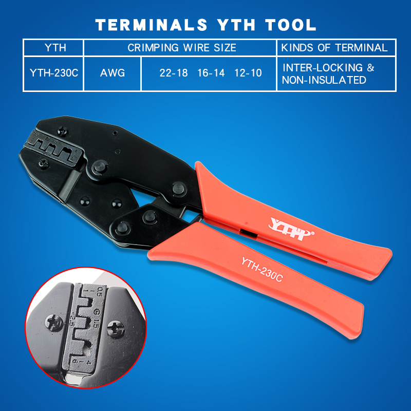 YTH-230C hand crimping tool for crimping open barrel terminals