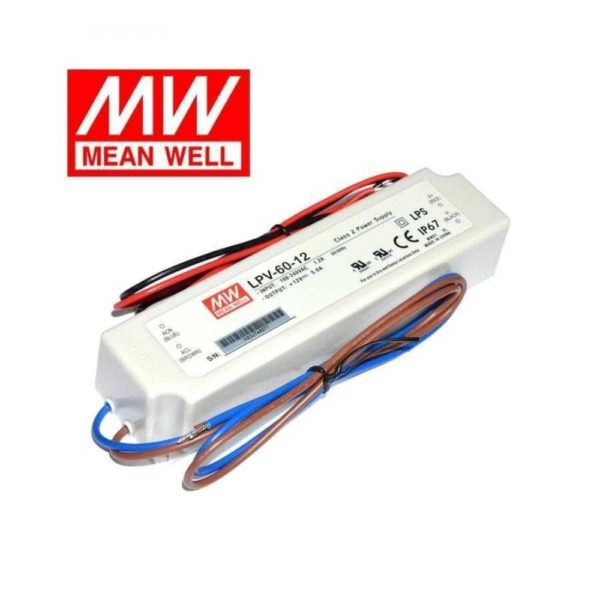 LPV 60 12 600x600 - LPV-60-12 -AC-DC Single output LED driver Constant Voltage (CV); Output 12Vdc at 5A; cable output - sign-led, led-parts - LPV 60 12 600x600