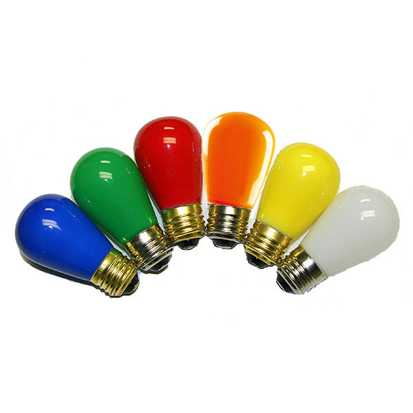 S14 Decorative LED Light Bulb1 copy 600x600 - S14 Style LED Colored Bulbs -LED S14 lamps for direct replacement of 11W incandescent versions, saving 90% in running costs. Frosted Bulb: Yes. LED Opaque glass bulb 1.4W / E26 base. Six colors available opaque glass bulbs. - household-led, commerial-lighting - S14 Decorative LED Light Bulb1 copy 600x600