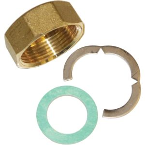 dn20 back nut circlip and washer 02225422L 300x300 - SDHW Pipe Termination kit -Connection kit including Brass nut, leather washer and Stainless Steel Cir-clip Rated for 350 ℃ - sdhw-con - dn20 back nut circlip and washer 02225422L 300x300