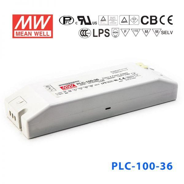 plc 100 36 600x600 - PLC-100-36 -AC-DC Single output LED driver Constant Voltage (CV); Output 36Vdc at 2.65A; I/O screw terminal block - led-parts - plc 100 36 600x600