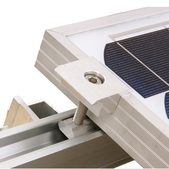 35mm aluminum mid clamp for solar panel.jpg 350x350 - R04 4400mm (14.4') Solar Mounting Rail -Single length of solar mounting rail. Usually good for 3 solar modules before requiring an extension.Anodized aluminum splice with stainless steel bolt. - solar-mounting-equipment - 35mm aluminum mid clamp for solar panel.jpg 350x350