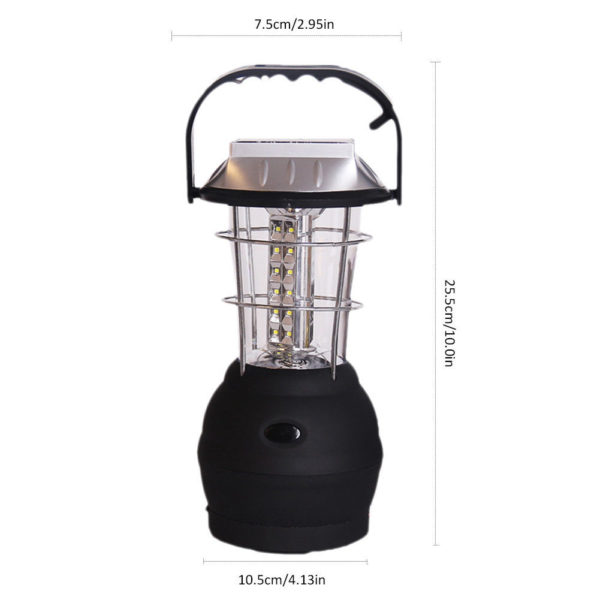 "dim 600x600 - Solar Outdoor Camping Lantern -<div id=""title"" class=""panel-heading""> Features</div> <div id=""text-body"" class=""panel-body""> <ul> <li style=""list-style-type: none;""> <ul> <li>Just one minute of easy cranking at approximately 120 rpm provides 20 minutes of light</li> </ul> </li> </ul> <ul> <li style=""list-style-type: none;""> <ul> <li>Crank Power or Solar Power</li> </ul> </li> </ul> <ul> <li style=""list-style-type: none;""> <ul> <li>Great for camping, hiking, power outages, boating, auto and more</li> </ul> </li> </ul> <ul> <li style=""list-style-type: none;""> <ul> <li>Hanging/Carrying Handle</li> </ul> </li> </ul> <ul> <li style=""list-style-type: none;""> <ul> <li>Solar Charging Time: Approximately 6 Hours</li> </ul> </li> </ul> <ul> <li>No charger included with this item</li> </ul> </div> - solar-powered-devices - dim 600x600"