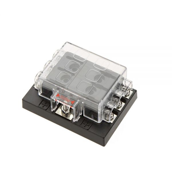 6 gang screw term common bus 600x600 - 6 Gang ATO/ATC Common Bus Fused Distribution Block With Screw Terminals -DC32V 6 Way Circuit Car Automotive Auto Blade Fuse Box Holder With LED Lamp ATC ATO Suitable for all marine, motor-home, automotive & motorsport applications, including 6v, 12v & 24v systems (maximum voltage 32v) - fuse-holders - 6 gang screw term common bus 600x600