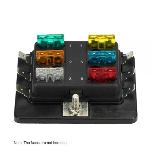 7 600x600 - 6 Gang ATO/ATC Common Bus Fused Distribution Block With Spade Terminals -DC32V 6 Way Circuit Car Automotive Auto Blade Fuse Box Holder With LED Lamp ATC ATO Suitable for all marine, motor-home, automotive & motorsport applications, including 6v, 12v & 24v systems (maximum voltage 32v) - fuse-holders - 7 600x600