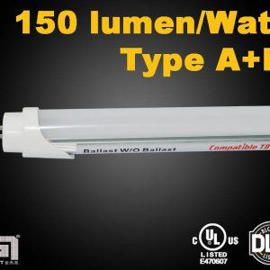 150lmw 300x300 - LED Fluorescent Tube 150 lm/w Replacement UL Type-A+B Ballast Compatible or Ballastless - - residential-lighting, comm-led - 150lmw 300x300