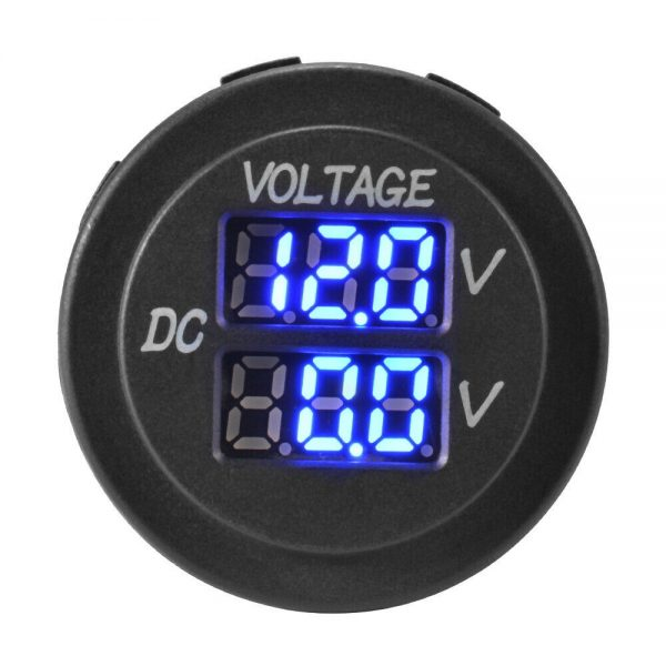 5 1 600x600 - Dual Voltmeter Panel Mount Meter DC12/24V Blue LED -<ul> <li>Dual battery Monitor with common --</li> <li>12V & 24V Compatible</li> <li>Panel Cut-Out 29mm Diameter</li> <li>6.35mm Tab Terminals</li> </ul> - volt-meters, dc-accessories - 5 1 600x600