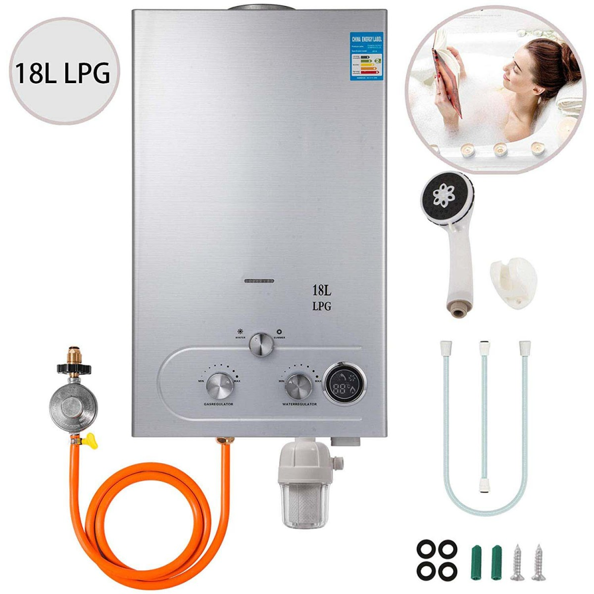 Hcda73501d9444083bead7c0b814310bd7 18L LPG Hot Water Heater - Instant Shower Water Heater