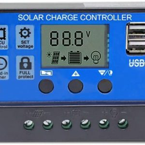 SL1000  300x300 - 10A Generic PWM Charge Controller With Integrated USB Charger -10A solar charger controller*Rated Voltage: 12V/24V*Discharge current: 10MA*Max. PV Voltage: 50V*Max input power and voltage: 130W /12V; 260W/24V*Floating charge: 13.7V/27.4V (default)*Discharge Stop: 10.7V/21.4V (default)*Charge recover voltage: 12.6V/25.2V (default)*Load Mode: 24 hours, 1-23 hours, 0 hour - controllers - SL1000  300x300