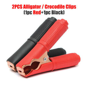 0 - 1 Pair Battery Clip / Alligator Test Clamp 100A Rated -Set contains 1 pair of 90mm Red & Black battery connectors - dc-accessories, batteries - 0